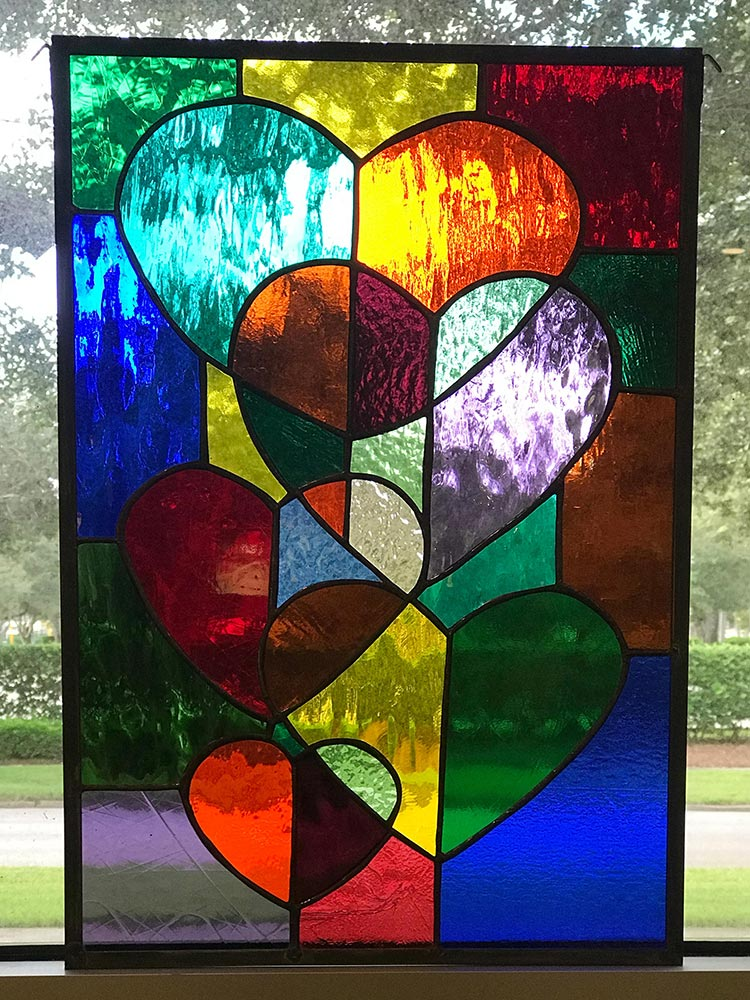 Free hanging panels, stained glass passion, vero beach florida