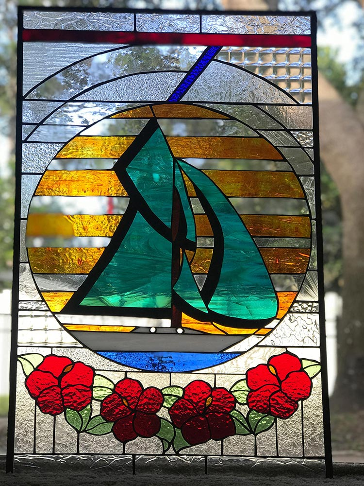 sail boat, stained glass passion vero beach florida