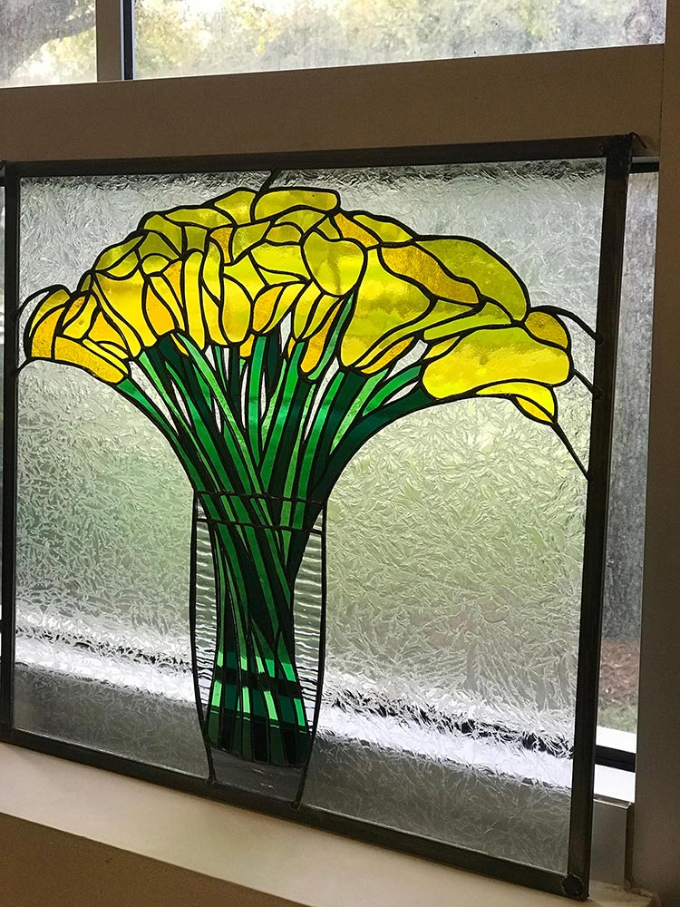 Yellow flower, stained glass passion, vero beach florida